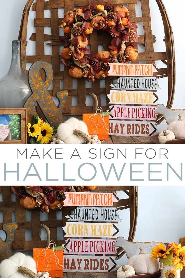 Make this DIY Halloween wood sign with just a few supplies and your Cricut machine! You will love how this one looks in or outside of your home! #halloween #cricut #cricutmade #cricutcreated #fall #diy #testors #testorscrafternoons
