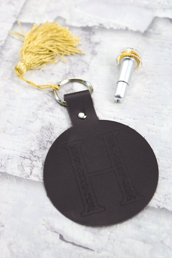 engraved leather key chain made with Cricut Maker