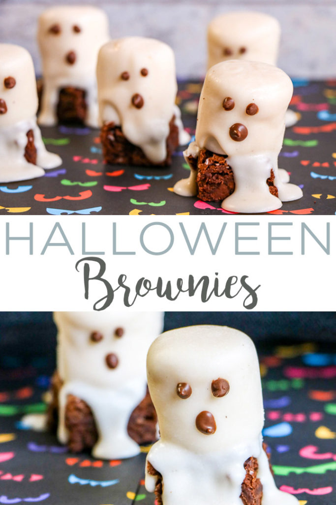 Make these Halloween brownies that look like ghosts for your fall parties! A quick and easy Halloween treat idea that the kids will love! #halloween #ghosts #chocolate #treats #halloweenparty