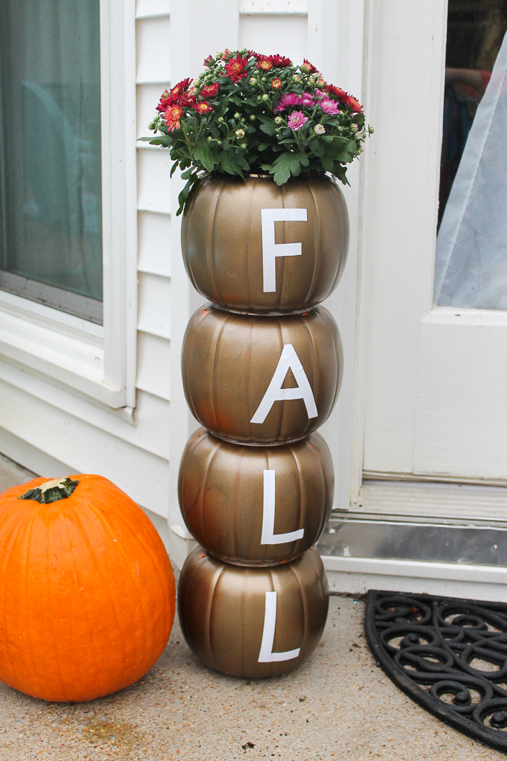 a pumpkin planter with a Cricut machine