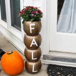 plastic pumpkin planter with a Cricut for fall