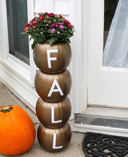 plastic pumpkin planter with a Cricut for fall