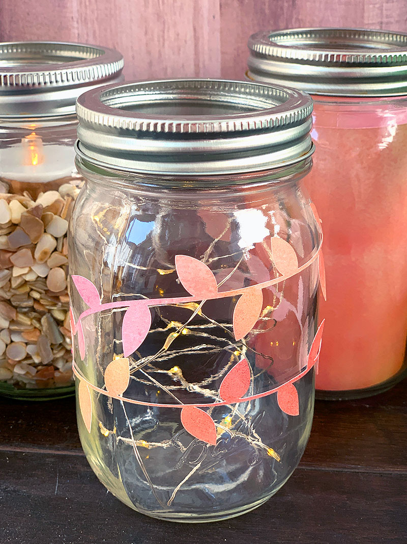 fall leaves mason jar