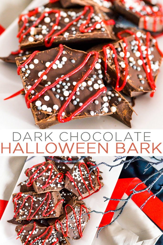 Whip up this dark chocolate bark recipe for any Halloween party that you are hosting! This easy recipe is something that kids and adults alike will love to dive into this fall! #halloween #halloweenrecipe #dessert #chocolate #yum
