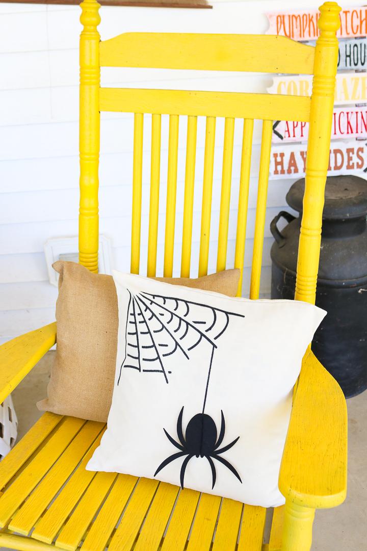 diy halloween pillow on porch