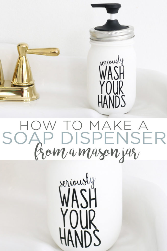 Learn how to make a mason jar soap dispenser including a free SVG file for your Cricut machine! This Rae Dunn inspired project is perfect for any bathroom! #cricut #cricutcreated #cricutmade #bathroom #masonjar #raedunn #farmhouse