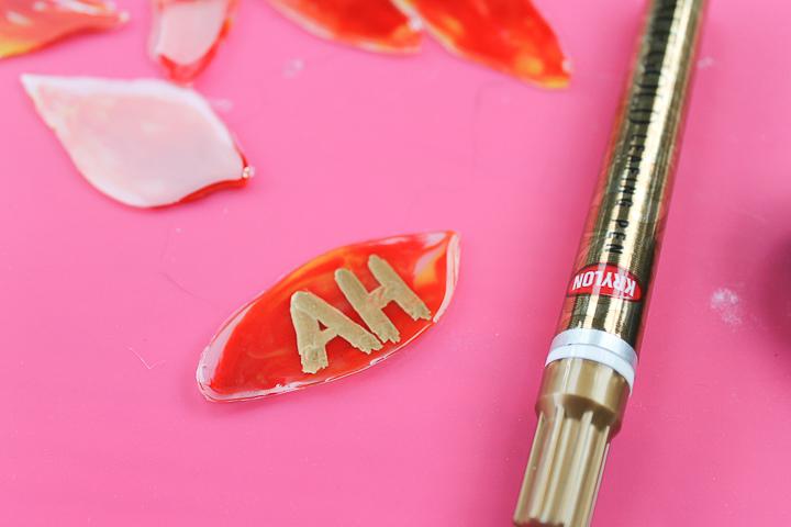 using paint marker on resin leaves