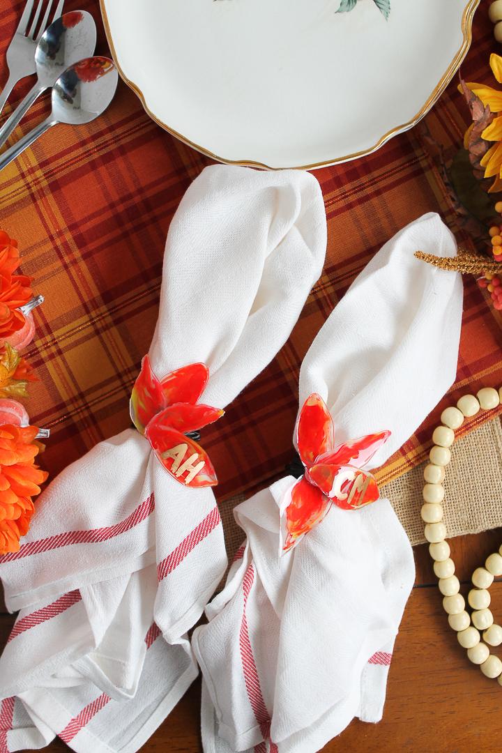 making DIY napkin rings for fall