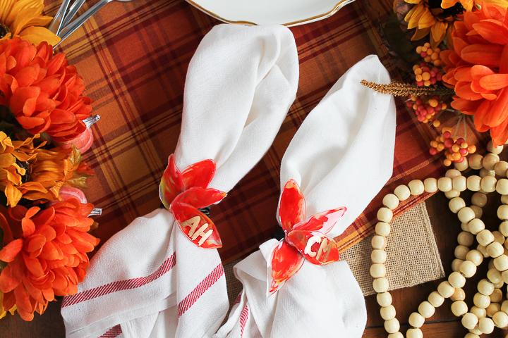 making diy napkin rings for thanksgiving