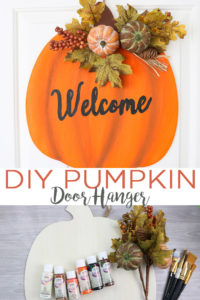 Learn how to make a DIY pumpkin door hanger for your fall decor! This quick and easy project will look amazing welcoming your Thanksgiving and fall party guests! #fall #pumpkin #doordecor #wreath #autumn