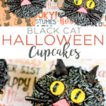 Black cat cupcakes are the perfect way to celebrate Halloween! Make these easy Halloween cupcakes for a class party or just an afternoon snack! #halloween #cupcakes #dessert #cat