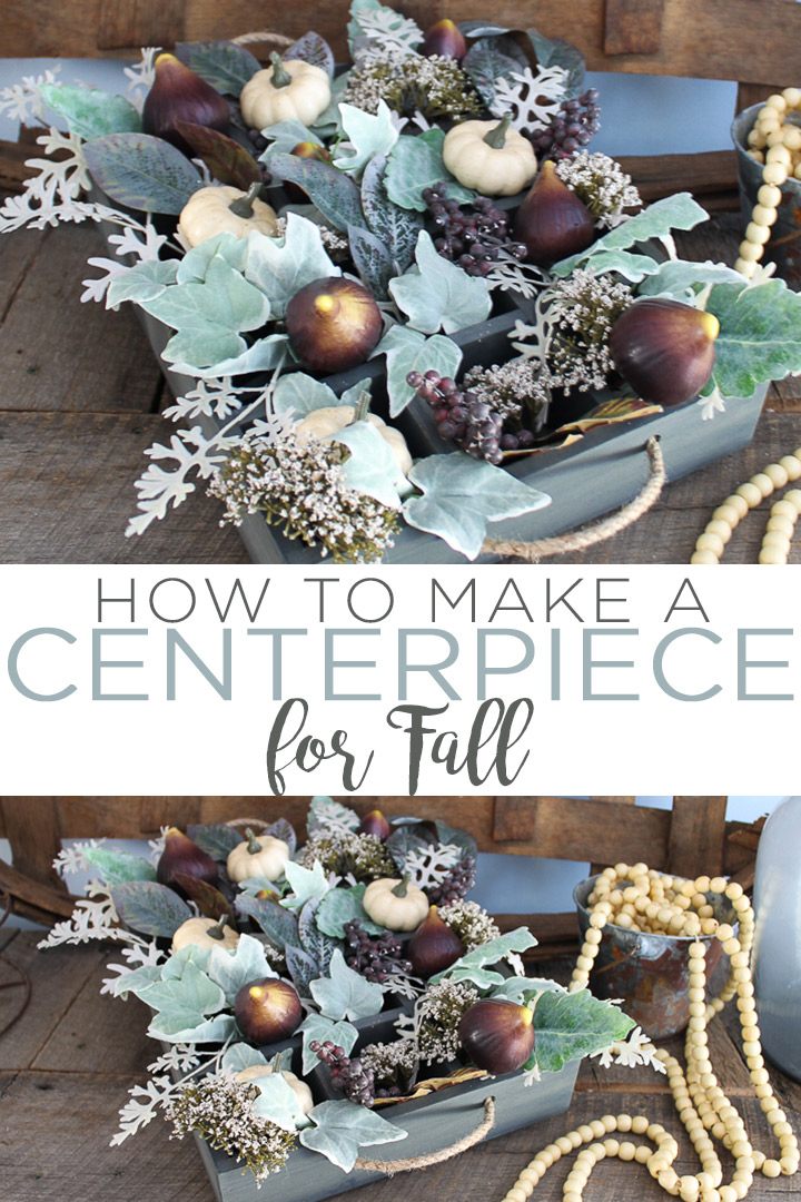 Make a fall centerpiece this season! This gorgeous farmhouse style centerpiece is easy to make and the perfect thing to adorn your table at Thanksgiving or a fall dinner party! #farmhouse #farmhousestyle #fall #centerpiece #autumn