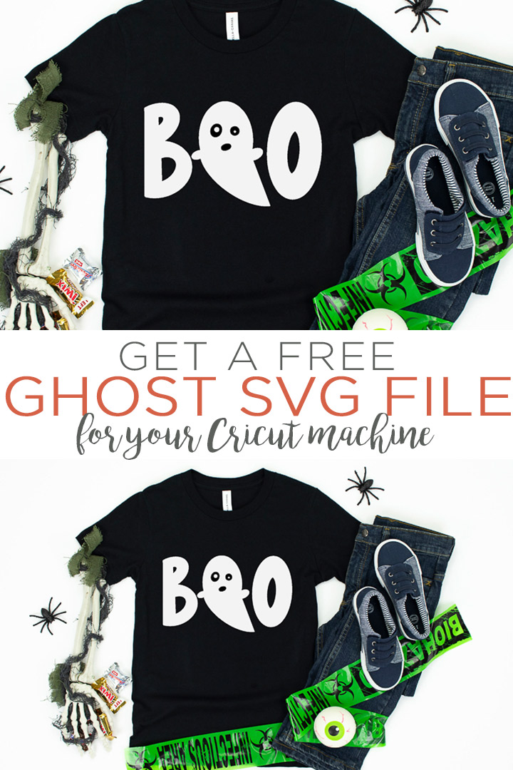Download a free ghost SVG file for your Cricut or Silhouette machine! This SVG file is perfect for your Halloween shirts and so much more! #halloween #svg #svgfile #freesvg #cricut #silhouette #cricutmade #cricutcreated