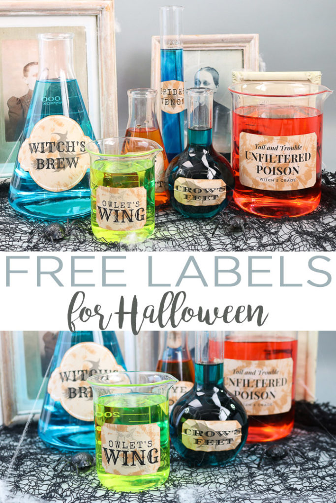 Get these free printable Halloween labels and add them to some glass containers for some spooky Halloween party decor! Add in drinks or just set these on your mantel! #halloween #halloweenparty #halloweencraft #halloweendecor #printable #free #freeprintable