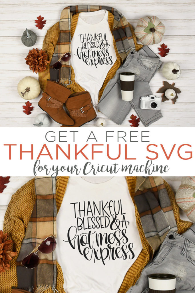 Download this free Thankful SVG for all of your fall crafting! Thankful, blessed, and a hot mess express! Perfect for a Thanksgiving shirt! #fall #svg #svgfile #freesvg #thankful #thanksgiving