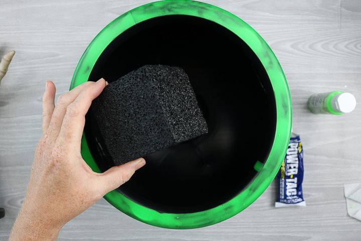 adding foam block inside bucket with glue