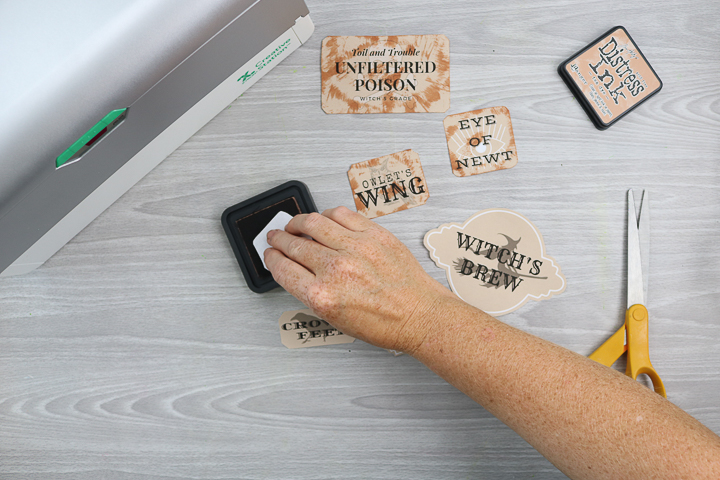 distressing labels with ink