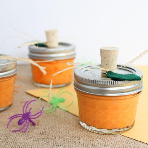 orange slime in a mason jar