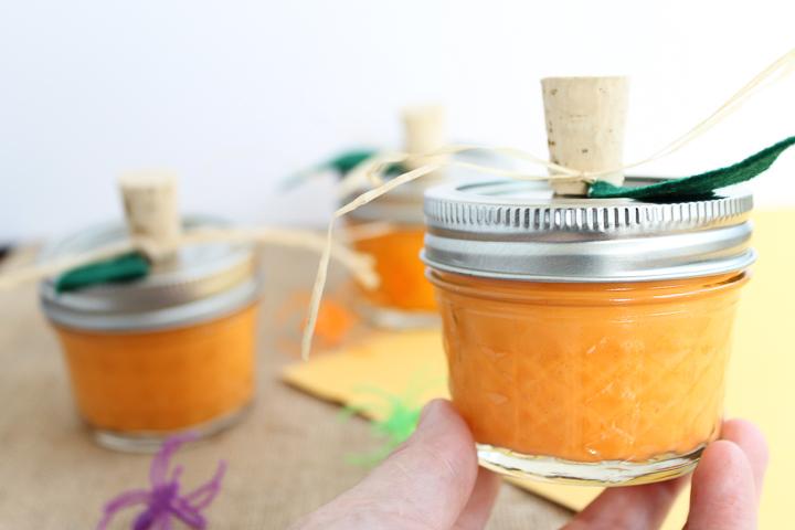 orange gook in a small jar