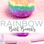 Follow this step by step tutorial on how to make rainbow bath bombs then keep them for yourself or give them as gifts! A fun DIY spa gift that everyone will love! #bathbombs #rainbow #spagift #giftidea