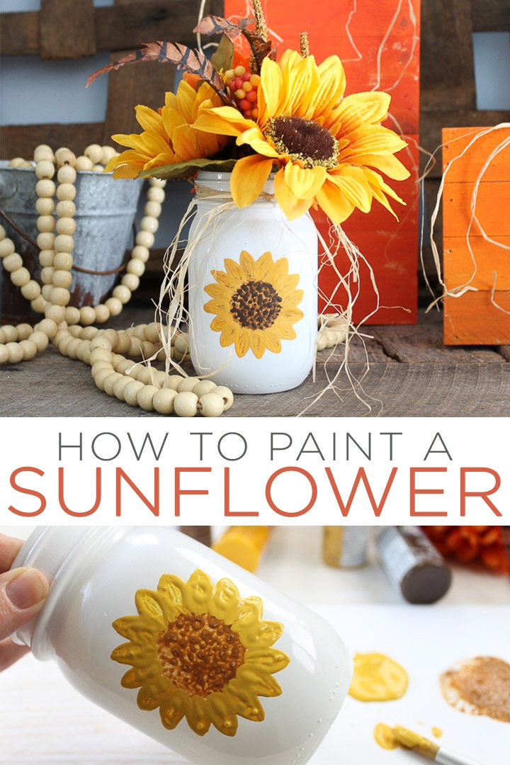 Learn how to paint a sunflower the easy way! With our easy tips and tricks, even beginners can paint sunflowers that look amazing! Perfect for those that want to start crafting! #paint #sunflowers #painting #masonjar