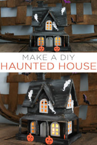 Make this DIY haunted house in minutes! A great craft idea for the kids to help with and this one will really light up your mantel or even porch on Halloween night! #halloween #kidscraft #hauntedhouse #halloweendecor #spooky