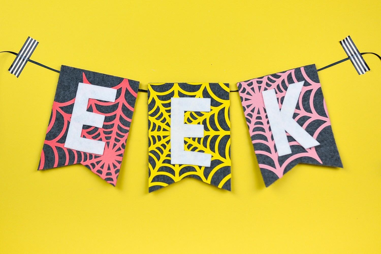 party crafts EEK-Spider-Web-Halloween-Banner-Cricut-2-1