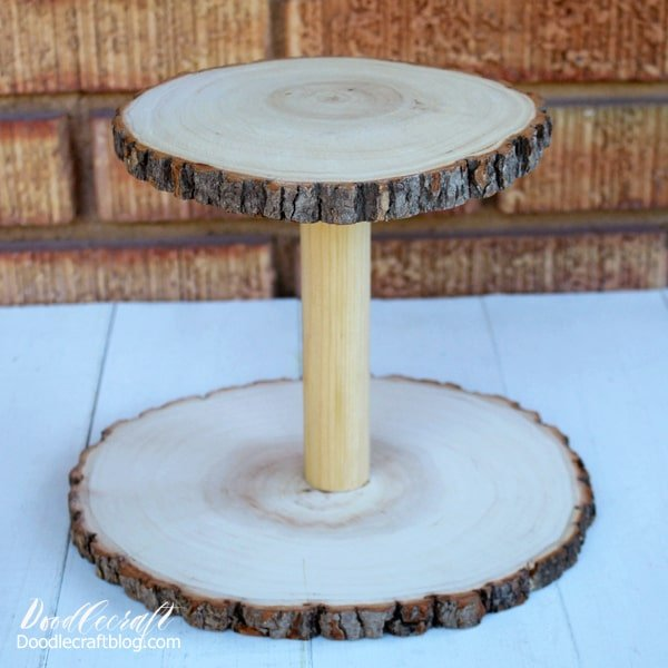 party crafts rustic wood slice cake cupcake stand diy how to make (2)-min