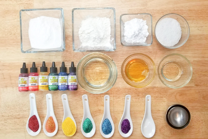 supplies to make bath bombs in rainbow colors