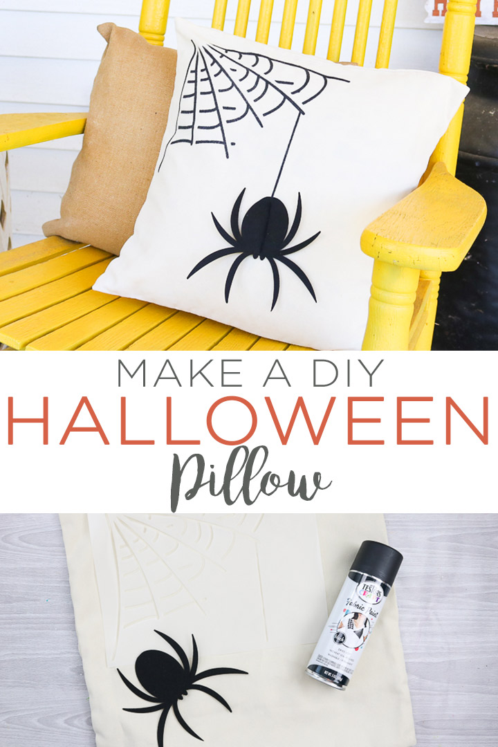 Learn how to make a DIY Halloween pillow with fabric spray paint and your Cricut machine! This easy spider pillow will look great on your porch this fall! #halloween #fall #cricut #cricutcreated #cricutmade #spider #pillow