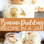 Make this easy banana pudding recipe today! YUM! Whip it up and add it to a mason jar for a party dessert idea! #bananapudding #recipe #dessert #masonjar #jar