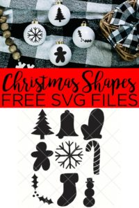 Download these Christmas shapes SVG files for free for use with your Cricut or Silhouette machine. Make all sorts of crafts with these basic holiday shapes that are perfect for a ton of projects! #christmas #holiday #shapes #svg #svgfiles #freesvg #cricut #cricutcreated #cricutmaker #cricutexplore #christmastree #bell #mitten #gingerbreadman #snowflake #candycane #holly #stocking #snowman