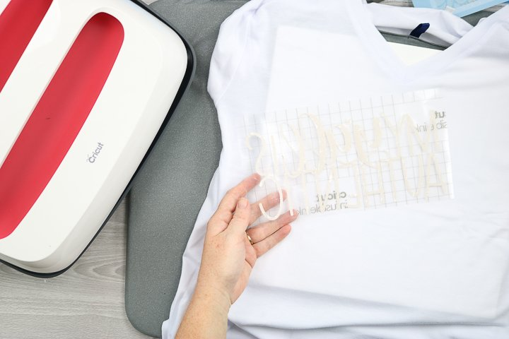 Apply the infusible ink sheet to the clean and prepped t-shirt.