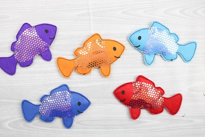 felt fish in various colors