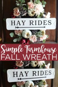 Make this simple fall wreath for your home this fall! Show off your farmhouse style right on your front door with a gorgeous hay rides wreath! #farmhouse #farmhousestyle #fallwreath #wreath
