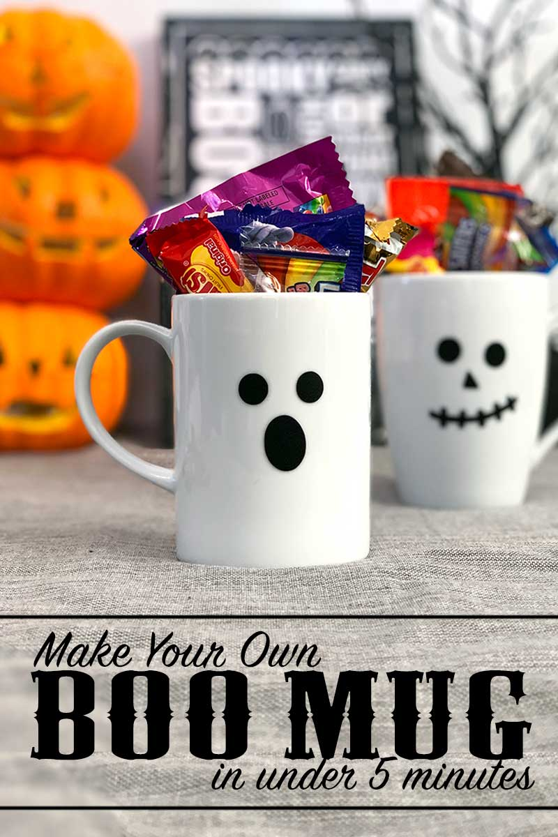 Make a quick DIY mug for Halloween in 5 minutes or less! This easy DIY project is perfect for making a BOO gift for neighbors as well! #halloween #boo #neighborgift #cricut #cricutcreated #vinyl #crafts