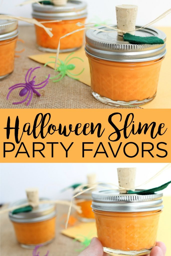 Make these pumpkin Halloween slime party favors for your little ones! This easy to make slime recipe is perfect for fall! #halloween #slime #slimerecipe #pumpkin #kids