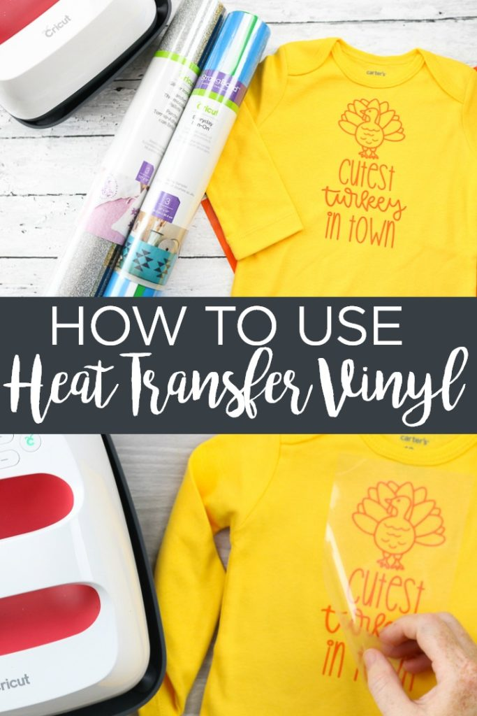 Learn how to use heat transfer vinyl on your Cricut machine. This tutorial walks you through the basics of using iron-on vinyl of any type! #cricut #cricutcreated #htv #heattransfervinyl #ironon #irononvinyl #easypress #cricuteasypress