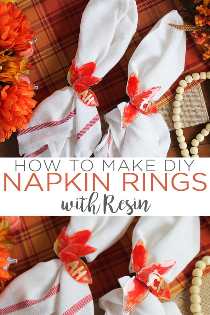 Learn how to make DIY napkin rings for your Thanksgiving table! This easy technique with resin allows you to make gorgeous glossy fall leaves that will look great for your craft projects! #thanksgiving #fall #napkinrings #falltable #table #resin