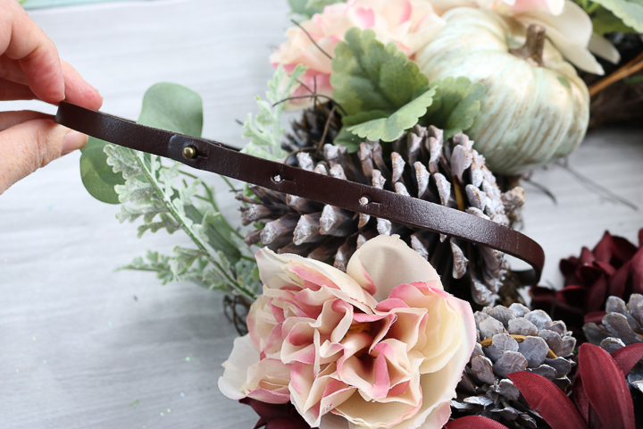 leather wreath hanger