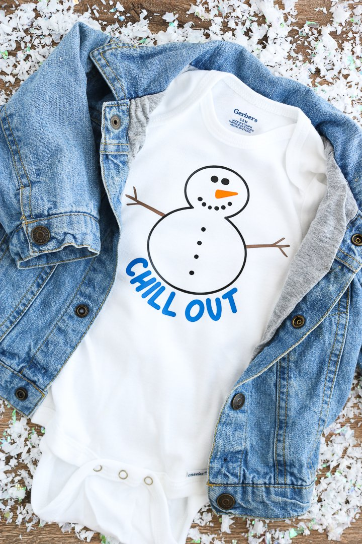 Use this free snowman svg file to create cute baby onesies!