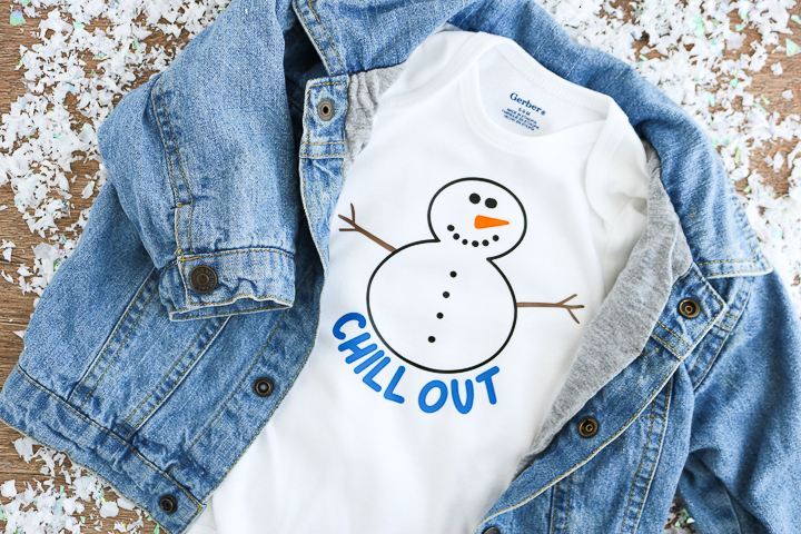 This free snowman SVG file is perfect for winter-themed kids shirts and onesies