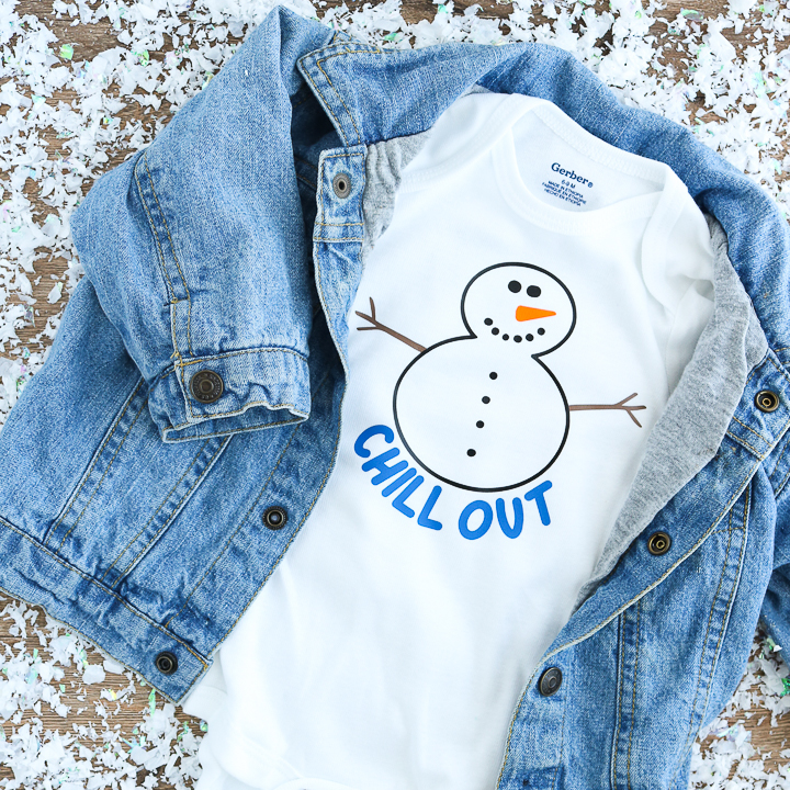 Use this free snowman SVG file to make adorable kids clothes and onesies that are perfect for winter!