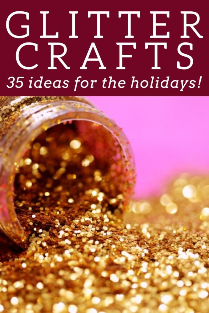 These 35 glitter crafts are perfect for the holidays! Get tons of inspiration to get crafty for Christmas and more! #holidays #glitter #gold #sparkle #crafty #diy