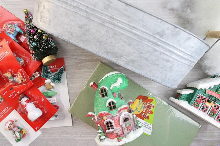 supplies for a christmas fairy garden