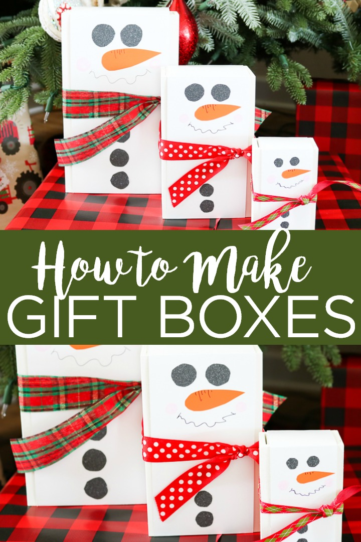 Learn how to make a DIY gift box for Christmas with these super simple instructions! Everyone will love getting a gift in a snowman themed wood box! #christmas #holidays #gift #giftidea #giftbox #wrapping #christmaswrapping #holidaywrapping #giftwrap #snowman #vinyl #plaid #ribbon #giftgiving