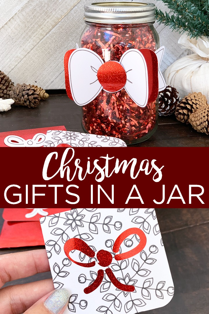 Give these ideas for Christmas gifts in a jar a try! Add accents cut with your Cricut machine to any mason jar for a cute holiday gift idea! #cricut #cricutcreated #crafts #christmas #holiday #masonjar #masonjargift #holidaygift #giftidea #giftwrap #giftwrapping