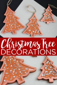 Learn how to make these DIY Christmas tree decorations with some metallic copper paint and silver leafing. You will love how they look on your holiday tree! #christmas #christmastree #silverleaf #copper #christmasornaments #ornaments #diyornaments #handmade #handmadechristmas #handmadeholiday #resin