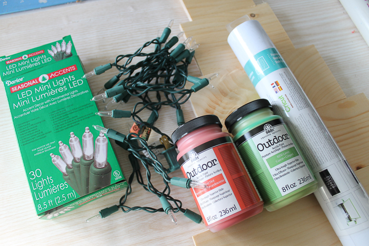 supplies to make a christmas tree sign