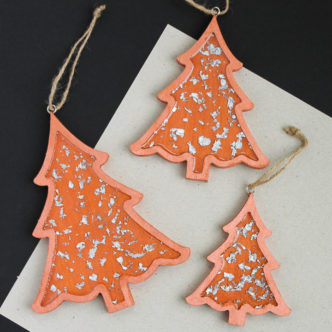 silver leaf christmas tree decorations